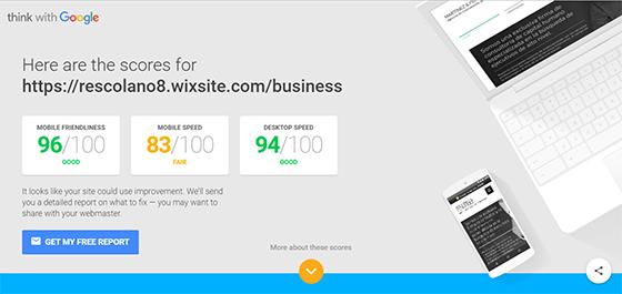 velocidad de carga con wix