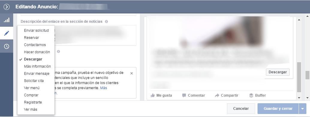 Opciones call to action Facebook Ads
