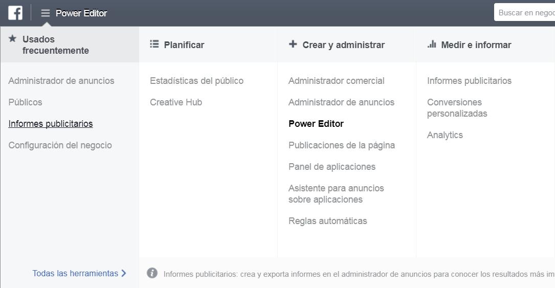 como acceder a power editor facebook ads