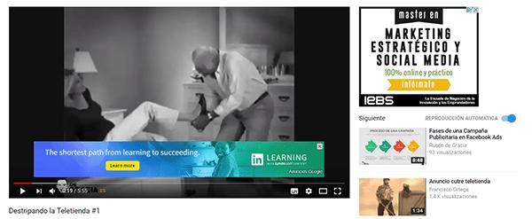 anuncios texto e imagen durante el video